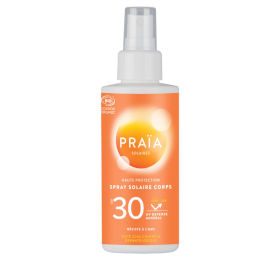 Protection solaire en spray avec un SPS 30. Produit cosmétique certifié bio.