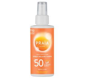Protection solaire en spray avec un SPS 50. Produit cosmétique certifé bio.