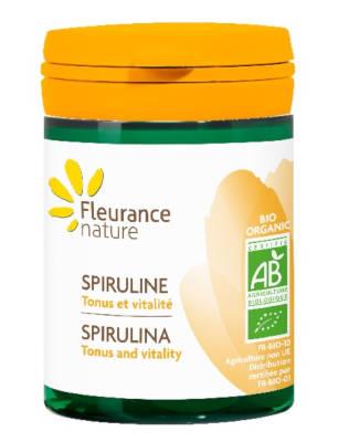 Spiruline bio sous forme de comprimés. Complément alimentaire pour lutter contre la fatigue passagère.